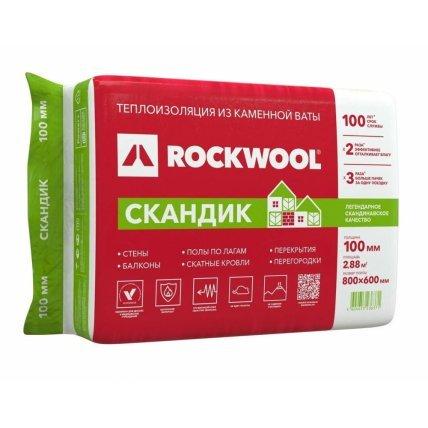 Утеплит Rockwoool Лайт Баттс 100 Скан 0,6*0,8*6шт