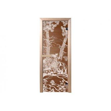 Дверь стекло бронза  МИШКИ 70*190