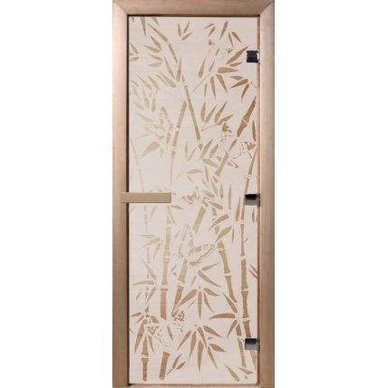 Дверь стекло сатин Бамбук  и бабочки 70*190